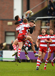 Jack Wallace of Bristol United claims a high ball - Mandatory by-line: Paul Knight/JMP - 18/11/2017 - RUGBY - Clifton RFC - Bristol, England - Bristol United v Gloucester United - Aviva A League