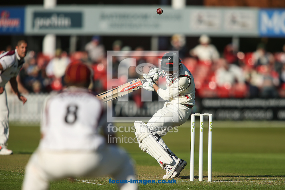Dan Redfern of Leicestershire County Cricket Club ducks under a high delivery from Rory Kleinveldt of Northamptonshire County Cricket Club (left) during the LV County Championship Div Two match at Grace Road, Leicester<br /> Picture by Andy Kearns/Focus Images Ltd 0781 864 4264<br /> 26/04/2015