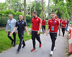 PARIS, FRANCE - Saturday, June 25, 2016: Wales' security Les Miles, physiotherapist Sean Connelly, Sam Vokes and David Edwards during a pre-match walk outside the Mövenpick Hotel Paris Neuilly ahead of the Round of 16 UEFA Euro 2016 Championship match against Northern Ireland. (Pic by David Rawcliffe/Propaganda)