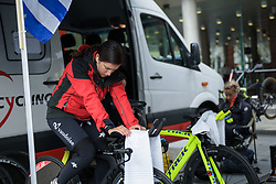 Ramona Forchini prepares for the UCI Road World Championships Elite Women's Individual Time Trial 2017 a 21.1 km time trial in Bergen, Norway on September 19, 2017. (Photo by Sean Robinson/Velofocus)
