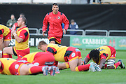 Dragons team warms up ahead of the Guinness Pro 14 2017_18 match between Edinburgh Rugby and Dragons Rugby at Myreside Stadium, Edinburgh, Scotland on 8 September 2017. Photo by Kevin Murray.