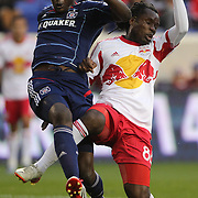 Bakary Soumare, (left), Chicago Fire and Pegguy Luyindula, New York Red Bulls, challenge during the New York Red Bulls V Chicago Fire, Major League Soccer regular season match at Red Bull Arena, Harrison, New Jersey. USA. 27th October 2013. Photo Tim Clayton