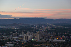 """Downtown Reno Sunrise Aerial 1"" - This aerial photograph of Downtown Reno at sunrise was photographed from a hot air balloon during the 2012 Great Reno Balloon Race Dawn Patrol."