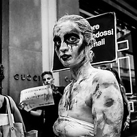 MILANO - 25/02/20217<br /> Analog Milan Fashion Week<br /> A different look on fashion week<br /> <br /> An analog photographic project on the Fashion Week began in 2014 and still in progress. The photographs were taken with Leica M2 and M5 for the Bronica 35mm and medium format; the films are Kodak and Rollei. Animal rights activist during a demonstration in Via Montenapoleone