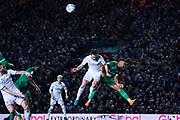 Leeds United midfielder Jack Harrison (22) and Sheffield Wednesday midfielder Jacob Murphy (14) during the EFL Sky Bet Championship match between Leeds United and Sheffield Wednesday at Elland Road, Leeds, England on 11 January 2020.
