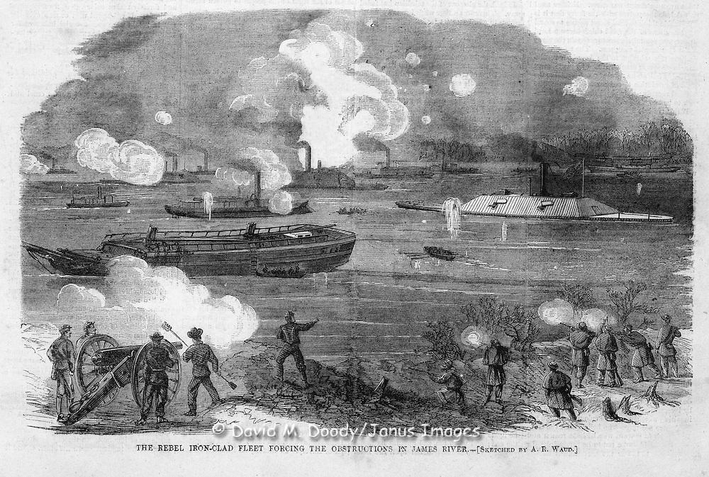 Civil War : Cover: Armstrong gun captured at Fort Fisher, North Carolina  (top) Rebel iron-clad fleet on the James River, Virginia Harper's Weekly, Saturday February 11, 1865 Vol IX No 424