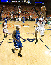 Virginia's Sean Singletary (44) heads towards the basket as The University of Virginia Cavaliers beat the #8 ranked Duke University Blue Devils 68-66 in overtime at the John Paul Jones Arena in Charlottesville, VA on February 1, 2007...