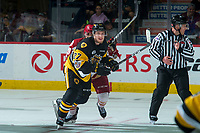 REGINA, SK - MAY 22: Robert Thomas #27 of Hamilton Bulldogs wins the face off against the Acadie-Bathurst Titan at the Brandt Centre on May 22, 2018 in Regina, Canada. (Photo by Marissa Baecker/CHL Images)