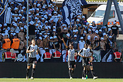 Angelo FULGINI (SCO Angers) scored a goal and celebrated it, Lassana COULIBALY (SCO Angers), Pierrick CAPELLE (SCO Angers), Thomas MANGANI (SCO Angers) during the French championship L1 football match between SCO Angers and Bordeaux on August 6th, 2017 at Raymond-Kopa stadium, France - PHOTO Stéphane Allaman / ProSportsImages / DPPI