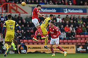 Swindon Town Defender, Raphael Rossi Branco (29) wins a header during the EFL Sky Bet League 1 match between Swindon Town and Oxford United at the County Ground, Swindon, England on 5 February 2017. Photo by Adam Rivers.