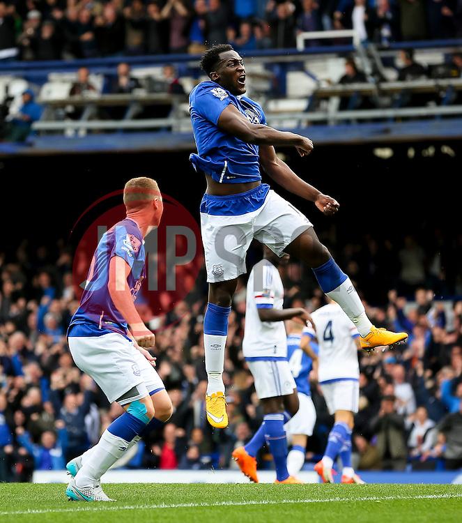 Everton's Romelu Lukaku celebrates after Everton's second goal scored by Steven Naismith - Mandatory byline: Matt McNulty/JMP - 07966386802 - 12/09/2015 - FOOTBALL - Goodison Park -Everton,England - Everton v Chelsea - Barclays Premier League