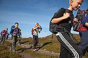 Det er langt å gå inn til fjellrevhiene i Sylan. Morten Ryttervoll går foran, mens Robin Tamnes, Magnus Kurås, Vår Horven og Magnus Dahl Haugen følger på.