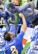 July 18, 2012: CenturyLink Field, Seattle, WA: Chelsea FC Frank Lampard signs autographs during the World Football Challenge. Chelsea FC defeated the Seattle Sounders 4-2.