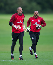 CARDIFF, WALES - Monday, August 13, 2012: Wales' goalkeepers Boaz Myhill and Jason Brown during a training session at the Vale of Glamorgan ahead of the international friendly match against Bosnia-Herzegovina. (Pic by David Rawcliffe/Propaganda)