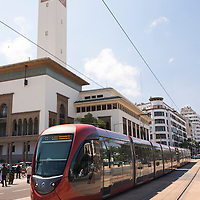 The Casablanca tramway is the rapid transit tram system in Casablanca in Morocco. The tram is passing in front of the Ancienne Prefecture (Old Police Station) on Place Mohammed V.