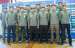 Goran Janus, Peter Prevc, Matjaz Pungertar, Robert Kranjec, Anze Semenic, Jernej Damjan, Nejc Dezman, Rok Justin, Jurij Tepes, Jaka Hvala, Jure Sinkovec and Tomaz Naglic during official presentation of the outfits of the Slovenian Ski Teams before new season 2015/16, on October 6, 2015 in Kulinarika Jezersek, Sora, Slovenia. Photo by Vid Ponikvar / Sportida