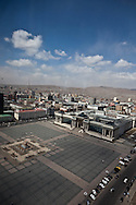 Mongolia. Ulaanbaatar. Elevated view of Sukhe bator square  the center of Ulaanbaaatar,