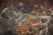 St Vincent de Paul assisting King Louis XIII on his deathbed, fresco, 1825, by Alexandre-Charles Guillemot, 1786-1831, in the Chapelle de Saint-Vincent-de-Paul, in the church of Saint-Sulpice, built 1646-1870, in the 6th arrondissement of Paris, France. Picture by Manuel Cohen