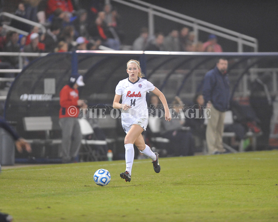 Ole Miss' Gretchen Harknett (14) vs. Jackson State in NCAA Soccer Tournament in Oxford, Miss. on Friday, November 15, 2013. Ole Miss won 9-0.
