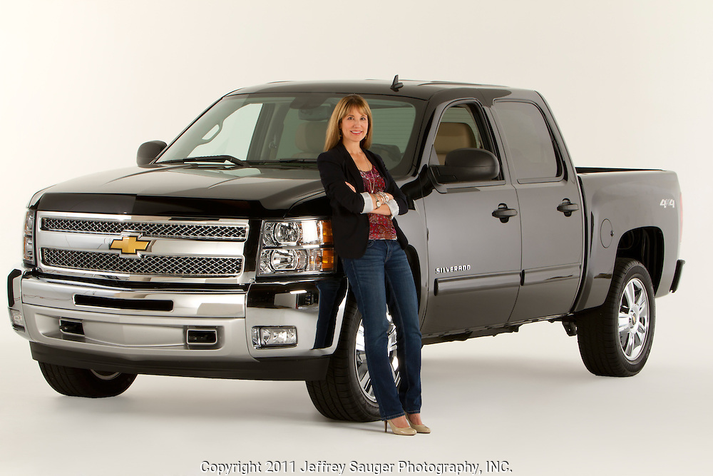 "ROYAL OAK, MICHIGAN - OCTOBER 12: Kathy Speck, former Senior Vice President, Associate Creative Director, Chevrolet Trucks at Campbell-Ewald, poses with a Chevy Silverado pickup truck in Royal Oak, MI, Wednesday, October 12, 2011. Speck and worked on and created the iconic campaigns ""From The Heartbeat of America,"" to ""Like A Rock,"" to ""Our Country/Our Truck.""  (Jeffrey Sauger)"