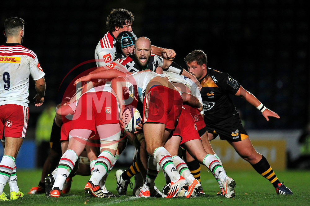 George Robson of Harlequins in action at a maul - Photo mandatory by-line: Patrick Khachfe/JMP - Mobile: 07966 386802 26/10/2014 - SPORT - RUGBY UNION - High Wycombe - Adams Park - Wasps v Harlequins - European Rugby Champions Cup
