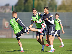 NEWPORT, WALES - Tuesday, October 7, 2014: Wales' Hal Robson-Kanu and James Chester training at Dragon Park National Football Development Centre ahead of the UEFA Euro 2016 qualifying match against Bosnia and Herzegovina. (Pic by David Rawcliffe/Propaganda)