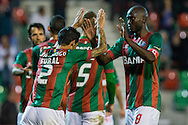Portugal, FUNCHAL : Maritimo's Portuguese defender João Diogo celebrates with his teammate Maritimo's Guinea midfielder Danilo Pereira  during Portuguese League football match Maritimo vs F.C. Porto at Barreiros Stadium in Funchal on January  25, 2015.  PHOTO/ GREGORIO CUNHA