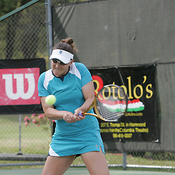 Abigail Spears returns a shot during the finals of doubles competition at the AT&T$25,000 Challenger USTA Pro Women's Tennis Circuit Tournament played on March 30, 2008 at Oak Knoll Country Club in Hammond, LA. Raquel Kops-Jones and Abigail Spears defeated sisters Chelsey Gullickson and Carly Gullickson in two sets 7-5, 6-4 to when the doubles title at the AT&T 25K Challenger.