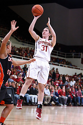 February 24, 2011; Stanford, CA, USA;  Stanford Cardinal guard Toni Kokenis (31) shoots over Oregon St. Beavers guard Jenna Dixon (5) during the first half at Maples Pavilion.