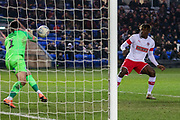 Christy Pym (1) saves from Freddie  Ladapo (10) during the EFL Sky Bet League 1 match between Peterborough United and Rotherham United at London Road, Peterborough, England on 25 January 2020.