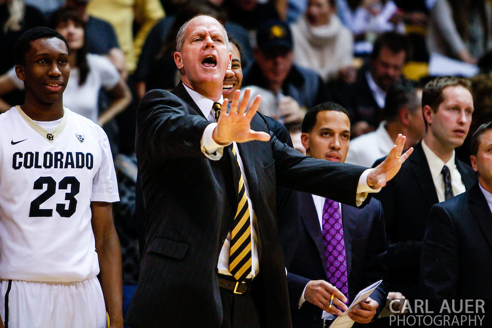 January 2nd, 2014:  Colorado Buffaloes head coach Tad Boyle tells his team to calm down during the second half of the NCAA Basketball game between the Oregon State Beavers and the University of Colorado Buffaloes at the Coors Events Center in Boulder, Colorado