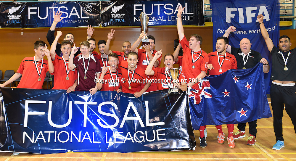 Mainland players celebrate winning the final. Mainland v Capital. Final of the 2014 National Futsal League, Series 3. ASB Stadium, Auckland, New Zealand. Sunday 7 December 2014. Photo: Andrew Cornaga/photosport.co.nz