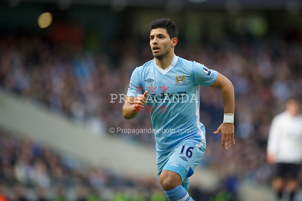 MANCHESTER, ENGLAND - Sunday, January 22, 2011: Manchester City's Sergio Aguero in action against Tottenham Hotspur during the Premiership match at the City of Manchester Stadium. (Pic by David Rawcliffe/Propaganda)