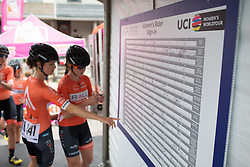 Rally Cycling Team riders sign on before the Philadelphia International Cycling Classic, a 117.8 km road race in Philadelphia on June 5, 2016 in Philadelphia, PA.