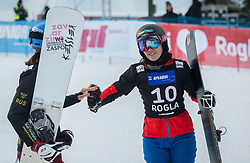 Zavarzina Alena and Ulbing Daniela during the woman's Snowboard giant slalom of the FIS Snowboard World Cup 2017/18 in Rogla, Slovenia, on January 21, 2018. Photo by Urban Meglic / Sportida