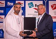 Ahmed Al Falasi, President UAE Swimming Federation <br /> Thomas Gompf FINA<br /> Gala Dinner<br /> FINA/HOSA 10 Km Marathon Swimming World Cup  2016<br /> Khalideya Palace<br /> Day1  26 Feb.2016<br /> Photo G.Scala/Insidefoto/Deepbluemedia