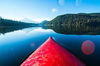 Kayaking on Lost Lake near Mount Hood, OR.