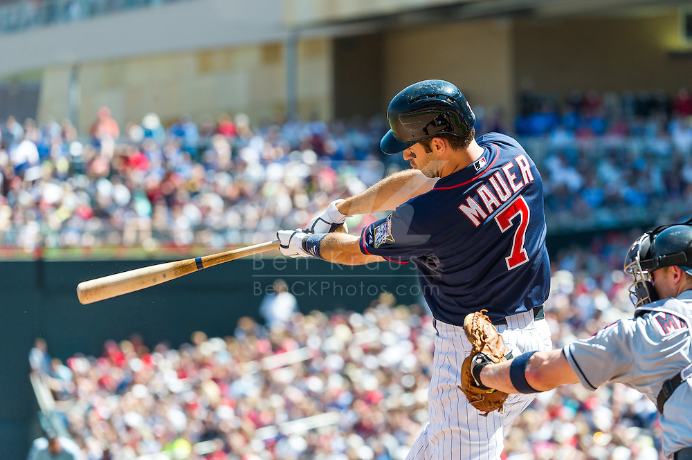 Minnesota Twins DH Joe Mauer bats against the Cleveland Indians at Target Field in Minneapolis, Minnesota on July 29, 2012.  The Twins defeated the Indians 5 to 1.  © 2012 Ben Krause
