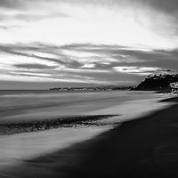 San Clemente California black and white panorama photo. San Clemente is a popular coastal city in Orange County in Southern California in the United States of America. Panoramic photo ratio is 1:3.  Copyright ⓒ 2017 Paul Velgos with All Rights Reserved.