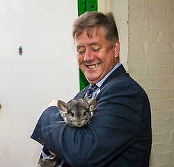 Pictured: Keith Brown and Zak the chinchilla<br /> <br /> Cabinet Secretary for Economy, Jobs & Fair Work Keith Brown visited Gorgie City Farm today  to mark their accreditation as the 800th Living Wage employer in Scotland. Mr Brown met Josiah Lockhart, CEO and undertook a short tour of the farm, celebrating their accreditation and promoting the Living Wage more generally. The Scottish Government has set a target of reaching 1,000 Scottish-based Living Wage Accredited Employers by autumn 2017. While at the farm Mr Brown met Maia Gordon, Kirsty McGoff (17) and Zoe White (18), who have benefited from the living wage, and George Ellis, chair of the farm's board of directors<br /> Ger Harley | EEm 18 May 2017