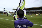 Flag bearers during the EFL Sky Bet League 2 match between Forest Green Rovers and Notts County at the New Lawn, Forest Green, United Kingdom on 9 February 2019.