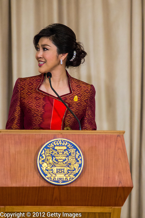 18 NOVEMBER 2012 - BANGKOK, THAILAND:  Thai Prime Minister Yingluck Shinawatra at the joint press conference with President Obama in Government House on November 18, 2012 in Bangkok, Thailand. Obama will become the first serving US President to visit Myanmar during his four-day tour of Southeast Asia that will also include visits to Thailand and Cambodia. PHOTO BY JACK KURTZ