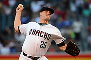PHOENIX, AZ - JUNE 14:  Archie Bradley #25 of the Arizona Diamondbacks delivers a pitch in the first inning against the Los Angeles Dodgers at Chase Field on June 14, 2016 in Phoenix, Arizona.  (Photo by Jennifer Stewart/Getty Images)