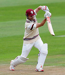 Somerset's James Hildreth drives the ball. - Photo mandatory by-line: Harry Trump/JMP - Mobile: 07966 386802 - 21/08/15 - SPORT - CRICKET - LV County Championship Division One - Day One - Somerset v Worcestershire - The County Ground, Taunton, England.