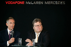 STUTTGART, GERMANY - Monday, January 7, 2008: Motorsport Chief Norbert Haug (R) and team manager Martin Whitmarsh (L) at the launch of the Vodafone McLaren Mercedes MP4-23 Formula One car for the 2008 season at the Mecedez-Benz museum in Stuttgart. (Photo by Michael Kunkel/Hochzwei/Propaganda)