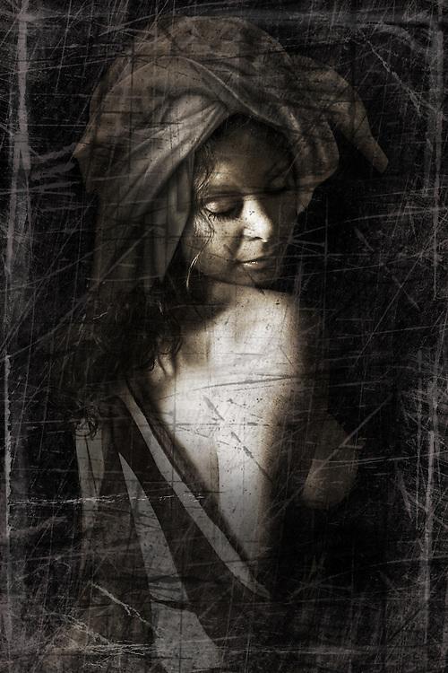 Toned portrait of a semi nude female