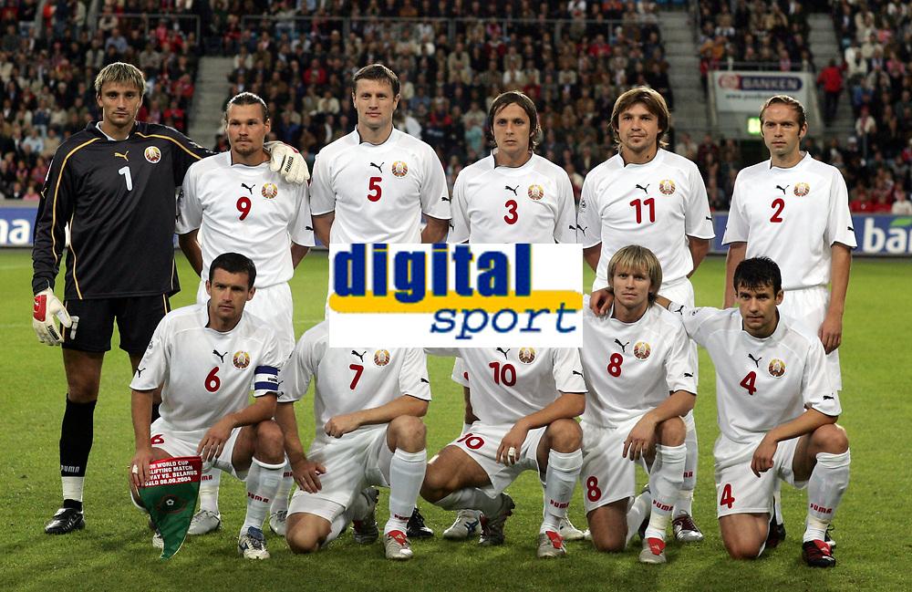 Fotball<br /> VM-kvalifisering<br /> Norge v Hviterussland<br /> Ullevaal stadion<br /> 8. september 2004<br /> Foto: Digitalsport<br /> Teampicture, teamphoto, lagbilde<br /> Hvitrussland, Vasily Khomutovsky (1), Aleksandr Kulchy 2, Sergei Yaskovich 3, Seregei Omelyanchuk 4, Sergei Shtanyuk 5, Sergei Gurwnko 6, Andrei Lavrik 7, Vitaly Bulyga 8, Maksim Romashchenko 9, Vyacheslav Hleb 10, Vitaly Kutuzov 11