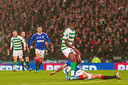 Filip Helander of Rangers FC lunges in to deny Odsonne Edouard of Celtic FC during the Betfred Scottish League Cup Final match between Rangers and Celtic at Hampden Park, Glasgow, United Kingdom on 8 December 2019.