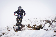 Cameron Chisholm descends through the snow on stage three of the Kinlochleven Enduro.