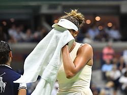 September 6, 2018 - Flushing Meadow, NY, U.S. - FLUSHING MEADOW, NY - SEPTEMBER 06:  Madison Keys (USA) towels off between points during her semi-final match in the Women's Singles Championships at the US Open on September 06, 2018, at the Billie Jean King Tennis Center in Flushing Meadow, NY. (Photo by Cynthia Lum/Icon Sportswire) (Credit Image: © Cynthia Lum/Icon SMI via ZUMA Press)